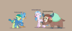 Size: 7498x3197 | Tagged: alternate version, artist:6jjcgf0d1etqx1tp, artist:gd_inuk, bow, brown background, classical hippogriff, cloven hooves, concerned, crying, descriptive noise, earth pony, eyes closed, female, floppy ears, gallus, hair bow, high res, hippogriff, hug, jewelry, male, monkey swings, necklace, pony, sad, safe, sandbar, silverstream, simple background, winghug, wings, yak, yona
