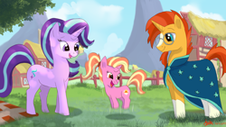 Size: 4800x2700   Tagged: safe, artist:greenbrothersart, luster dawn, starlight glimmer, sunburst, pony, unicorn, blaze (coat marking), clothes, coat markings, cute, cutie mark, cutiespark, daaaaaaaaaaaw, facial markings, family, father and child, father and daughter, female, filly, filly luster dawn, glasses, headcanon, jumping, luster dawn is starlight's and sunburst's daughter, lusterbetes, male, mama starlight, mare, mother and child, mother and daughter, offspring, papa sunburst, parent:starlight glimmer, parent:sunburst, parents:starburst, ponyville, robe, shipping, socks (coat markings), stallion, starburst, straight, sunburst's cloak, sunburst's glasses