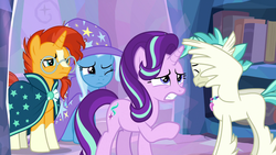 Size: 1920x1080 | Tagged: hippogriff, pony, safe, screencap, spoiler:s09e11, starlight glimmer, student counsel, sunburst, terramar, treehouse of harmony, trixie