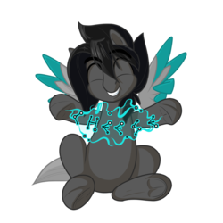 Size: 1200x1200 | Tagged: 2020 community collab, artist:humble-ravenwolf, artist:ravenhoof, cheese, derpibooru community collaboration, eyes closed, floating wings, food, male, oc, oc:ravenhoof, peace sign, pegasus, ponysona, safe, simple background, sitting, smiling, stallion, stars, transparent background, wings