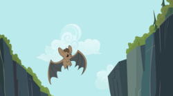 Size: 2500x1404   Tagged: safe, screencap, bat, may the best pet win, animal, cloud, flying, solo, spread wings, wings