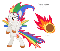Size: 1368x1164 | Tagged: safe, artist:melisareb, oc, oc only, oc:irene iridium, object pony, original species, pegasus, base used, bipedal, colored wings, crossed arms, cutie mark, element pony, female, fire, gradient wings, mare, meteor, not rainbow dash, ponified, reference sheet, simple background, solo, white background, wings