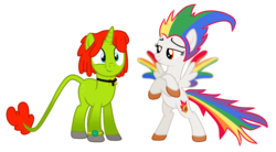 Size: 2066x1142 | Tagged: safe, artist:melisareb, oc, oc only, oc:irene iridium, oc:radiante radium, object pony, original species, pegasus, pony, unicorn, 2020 community collab, derpibooru community collaboration, base used, bipedal, colored wings, crossed arms, element pony, gradient legs, gradient tail, gradient wings, leonine tail, needs more saturation, not rainbow dash, ponified, radioactive, simple background, transparent background, watch, wings