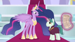 Size: 1701x964 | Tagged: safe, screencap, professor mossmane, professor mosstone, twilight sparkle, alicorn, pony, unicorn, the last problem, spoiler:s09e26, cropped, crown, duo, ethereal mane, female, hoof shoes, jewelry, magic, magic aura, male, mare, older, older twilight, peytral, princess twilight 2.0, regalia, scroll, stallion, telekinesis, twilight sparkle (alicorn), ultimate twilight