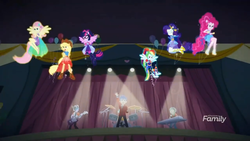 Size: 1366x768 | Tagged: applejack, backstage, channel, cheer you on, clothes, discovery family, discovery family logo, drums, equestria girls, equestria girls series, eyes closed, female, flash sentry, fluttershy, guitar, humane five, humane six, male, musical instrument, piano, pinkie pie, ponied up, rainbow dash, rarity, ringo, safe, sandalwood, scene, sci-twi, screencap, spoiler:eqg series (season 2), stage, super ponied up, transformation, twilight sparkle, wings