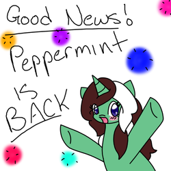 Size: 512x512 | Tagged: artist:ask-peppermint-pattie, ask peppermint pattie, female, mare, oc, oc:peppermint pattie, pony, safe, solo, unicorn