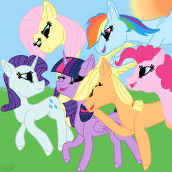 Size: 1000x1000 | Tagged: alicorn, applejack, artist:rainbow dash is best pony, earth pony, fluttershy, flying, happy, mane six, one eye closed, open mouth, pegasus, pinkie pie, pony, rainbow dash, rarity, safe, spread wings, sun, twilight sparkle, twilight sparkle (alicorn), unicorn, wings