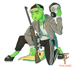 Size: 3297x3106 | Tagged: safe, artist:firelorda2, oc, oc:weedy, anthro, earth pony, pony, crouching, full body, gas mask, gopnik, green, male, mask, post-apocalyptic, slav, sniper, tracksuit