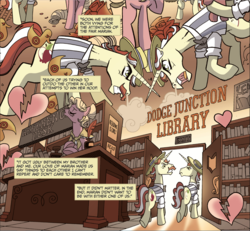 Size: 1594x1475 | Tagged: safe, artist:tonyfleecs, idw, flam, flim, marian, earth pony, pony, unicorn, friends forever, spoiler:comic, spoiler:comicff9, angry, argument, comic, female, flim flam brothers, heart, heartbreak, library, male, mare, official comic, stallion