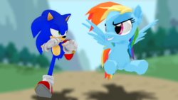 Size: 640x360 | Tagged: safe, artist:hugosanchez2000, rainbow dash, hedgehog, 3d, barely pony related, crossover, mmd, racing, sega, sonic the hedgehog, sonic the hedgehog (series)