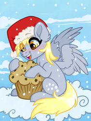 Size: 3000x4000 | Tagged: safe, artist:annakitsun3, derpy hooves, pegasus, pony, christmas, cloud, eye clipping through hair, female, food, hat, holiday, mare, muffin, on a cloud, santa hat, solo