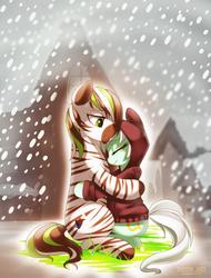 Size: 974x1280   Tagged: safe, artist:si1vr, lyra heartstrings, oc, oc:jack hyperfreak, zebra, canon x oc, clothes, hoodie, shipping, snow, winter