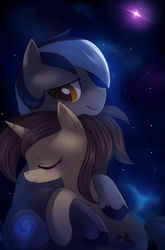 Size: 1695x2564   Tagged: safe, artist:si1vr, oc, oc only, pony, couple, cute, night, shipping