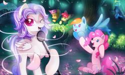 Size: 2066x1245   Tagged: safe, artist:si1vr, apple bloom, fluttershy, pinkie pie, rainbow dash, rarity, scootaloo, oc, pegasus, pony, lake, singing