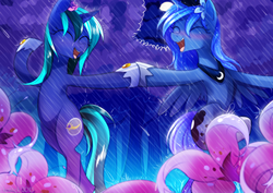 Size: 1841x1301 | Tagged: safe, artist:si1vr, princess luna, oc, pony, canon x oc, dancing, dancing in the rain, female, flower, lesbian, rain, shipping