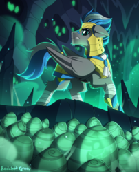 Size: 1300x1612 | Tagged: artist:redchetgreen, bandage, egg, hive, male, oc, oc:cloud zapper, pegasus, pony, raised hoof, royal guard, safe, solo, stallion, teeth