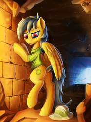 Size: 2080x2774 | Tagged: safe, artist:gouransion, daring do, pegasus, pony, bipedal, butt, clothes, dock, ear fluff, female, hat, high res, mare, pith helmet, solo