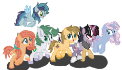 Size: 994x576 | Tagged: artist:guineapigrock03, base used, daughter, draconequus, dracony, earth pony, female, gift art, hybrid, interspecies offspring, male, next generation, oc, oc:cupcake, oc:emerald, oc:johnny appleseed, oc:loki, oc only, oc:party popper, oc:sweet apple, offspring, parent:applejack, parent:big macintosh, parent:caramel, parent:cheese sandwich, parent:discord, parent:fluttershy, parent:pinkie pie, parent:pokey pierce, parent:rainbow dash, parent:rarity, parents:carajack, parents:cheesedash, parents:discolight, parents:fluttermac, parent:spike, parents:pokeypie, parents:sparity, parent:twilight sparkle, pegasus, pony, safe, simple background, son, unicorn, walking in a line, white background