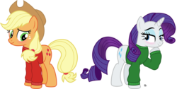 Size: 4502x2267 | Tagged: applejack, applejack's hat, artist:anime-equestria, blushing, christmas, clothes, cowboy hat, cute, duo, earth pony, eyeshadow, female, hairband, hat, holiday, horn, jumper, lesbian, long sleeves, makeup, mare, rarijack, rarity, safe, shipping, simple background, smiling, sweater, transparent background, unicorn, vector, winter