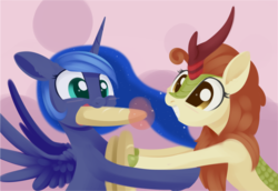 Size: 1569x1078 | Tagged: alicorn, artist:dusthiel, autumn blaze, bread, digital art, female, food, force feeding, grin, kirin, princess luna, safe, smiling