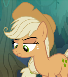 Size: 831x941 | Tagged: clone, cropped, frown, lidded eyes, mean applejack, raised eyebrow, safe, screencap, solo, the mean 6