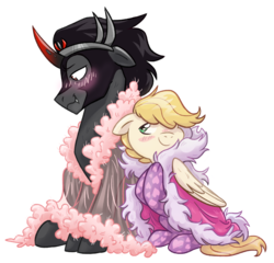 Size: 4493x4309 | Tagged: artist:virtualkidavenue, canon x oc, cape, clothes, feather, fluffy, gay, griffequus, king sombra, male, oc, oc:exist, robe, safe, socks, wings