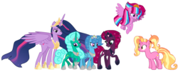 Size: 2194x890 | Tagged: alicorn, alicornified, alicorn oc, alternate universe, artist:徐詩珮, base used, crown, cute, family, female, fizzlepop berrytwist, flying, glitterbetes, glittercorn, glitter drops, glittershadow, jewelry, lesbian, luster dawn, magical lesbian spawn, mare, mother and daughter, next generation, oc, oc:bubble sparkle, offspring, older, older glitter drops, older spring rain, older tempest shadow, older twilight, parent:glitter drops, parents:glittershadow, parent:spring rain, parents:sprglitemplight, parents:springdrops, parents:springshadow, parents:springshadowdrops, parent:tempest shadow, parent:twilight sparkle, polyamory, princess glitter drops, princess spring rain, princess tempest shadow, princess twilight 2.0, race swap, regalia, safe, series:sprglitemplight diary, series:springshadowdrops diary, shipping, simple background, spoiler:s09e26, springbetes, springcorn, springdrops, spring rain, springshadow, springshadowdrops, tempestbetes, tempesticorn, tempest shadow, transparent background, twilight sparkle, twilight sparkle (alicorn), unicorn, vector