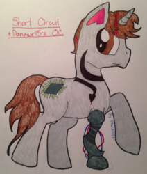 Size: 1080x1275 | Tagged: safe, oc, oc:short circuit, pony, unicorn, photo, robotic arm, solo, tattoo, traditional art