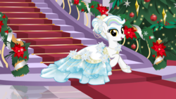 Size: 2773x1560 | Tagged: artist:nstone53, christmas, christmas tree, clothes, dress, ear piercing, earring, earth pony, female, flower, flower in hair, gala dress, holiday, jewelry, oc, oc:prism palette, pearl, piercing, safe, stairs, tree