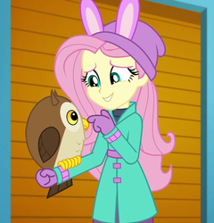 Size: 1035x1080 | Tagged: bird, chad (owl), clothes, coat, cropped, cute, equestria girls, equestria girls series, fluttershy, fluttershy's winter hat, hat, holidays unwrapped, mittens, owl, safe, screencap, self-storage facility, shyabetes, smiling, spoiler:eqg series (season 2), winter break-in, winter coat, winter hat, winter outfit
