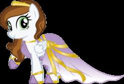 Size: 1600x1088 | Tagged: safe, artist:nstone53, oc, oc:angelic harmony, pegasus, pony, clothes, dress, female, gala dress, simple background, transparent background