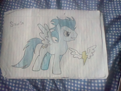 Size: 1200x900 | Tagged: artist:lucas_gaxiola, grin, irl, lined paper, male, pegasus, photo, pony, safe, smiling, soarin', solo, stallion, traditional art