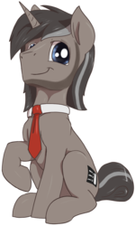 Size: 802x1335 | Tagged: 2020 community collab, artist:t72b, derpibooru community collaboration, derpibooru exclusive, male, necktie, oc, pony, raised hoof, safe, simple background, sitting, solo, stallion, transparent background, unicorn