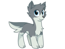 Size: 2048x1536 | Tagged: safe, artist:rainbow eevee, edit, editor:theglitchedwolf, sandra, oc, oc only, earth pony, pony, wolf, wolf pony, chest fluff, cute, daaaaaaaaaaaw, looking at you, pale belly, paws, solo