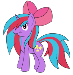 Size: 1163x1200 | Tagged: safe, artist:cosmicspark, oc, oc only, oc:cosmic spark, pony, unicorn, 2020 community collab, derpibooru community collaboration, bow, cute, female, needs more saturation, simple background, solo, transparent background, unicon