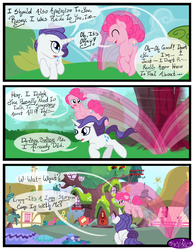 Size: 3500x4500 | Tagged: safe, artist:becauseimpink, pinkie pie, rarity, earth pony, pony, unicorn, comic:transition, bubble berry, comic, dialogue, elusive, eyes closed, golden oaks library, male, motion blur, ponyville, pronking, rule 63, running, stallion, transgender