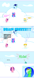 Size: 700x1580 | Tagged: ..., artist:auroraswirls, brain freeze, colt, comic, comic:tainted hearts, derp, female, filly, male, mare, oc, oc:aurora swirls, oc only, one eye closed, pony, safe, snow, snowball, thought bubble, tongue out, unamused, unicorn, wink