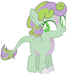 Size: 878x959 | Tagged: artist:otakuchicky1, base used, dracony, dragon, female, filly, hybrid, interspecies offspring, oc, oc:carol, offspring, parent:spike, parents:spikebelle, parent:sweetie belle, pony, safe, simple background, solo, transparent background