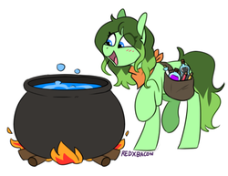 Size: 576x445 | Tagged: artist:redxbacon, cauldron, earth pony, fire, oc, oc only, pony, saddle bag, safe, simple background, solo, white background