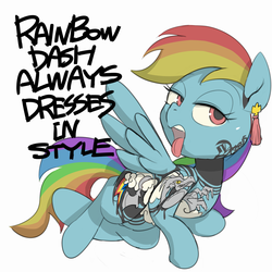 Size: 1250x1250 | Tagged: safe, artist:baigak, rainbow dash, pegasus, pony, backwards cutie mark, blackletter, ear piercing, earring, female, jewelry, mare, open mouth, piercing, simple background, solo, tattoo, tongue out, white background