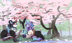 Size: 5000x3000   Tagged: safe, artist:jagga-chan, oc, oc only, oc:aoki, oc:mindy, bird, kirin, cherry blossoms, clothes, flower, flower blossom, kimono (clothing), magic, prone, scroll, tree