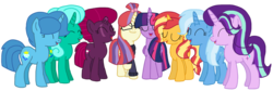 Size: 2340x787 | Tagged: safe, artist:徐詩珮, fizzlepop berrytwist, glitter drops, moondancer, spring rain, starlight glimmer, sunset shimmer, tempest shadow, trixie, twilight sparkle, alicorn, pony, unicorn, series:sprglitemplight diary, series:springshadowdrops diary, alternate universe, base used, bisexual, broken horn, clothes, counterparts, cute, eyes closed, female, glimmerdancer, glitterbetes, glitterdancer, glitterglimmer, glitterlight, glittershadow, glittershimmer, glittertrix, happy, horn, lesbian, moonset, polyamory, scarf, shimmerglimmer, shipping, simple background, singing, sprglitemplight, sprglitemplightixstarsetdancer, springbetes, springdancer, springdrops, springlight, springlimmer, springshadow, springshadowdrops, springshimmer, springtrix, startrix, sunsetsparkle, suntrix, tempestbetes, tempestdancer, tempestglimmer, tempestlight, tempestrix, tempestshimmer, transparent background, trickdancer, twiabetes, twidancer, twilight sparkle (alicorn), twilight's counterparts, twistarlight, twixie, vector