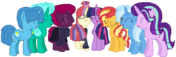 Size: 2340x762 | Tagged: safe, artist:徐詩珮, fizzlepop berrytwist, glitter drops, moondancer, spring rain, starlight glimmer, sunset shimmer, tempest shadow, trixie, twilight sparkle, alicorn, pony, unicorn, series:sprglitemplight diary, series:springshadowdrops diary, alternate universe, base used, bisexual, broken horn, clothes, counterparts, cute, eyes closed, female, glimmerdancer, glitterbetes, glitterdancer, glitterglimmer, glitterlight, glittershadow, glittershimmer, glittertrix, happy, horn, lesbian, moonset, polyamory, scarf, shimmerglimmer, shipping, simple background, singing, sprglitemplight, sprglitemplightixstarsetdancer, springbetes, springdancer, springdrops, springlight, springlimmer, springshadow, springshadowdrops, springshimmer, springtrix, startrix, sunsetsparkle, suntrix, tempestbetes, tempestdancer, tempestglimmer, tempestlight, tempestrix, tempestshimmer, transparent background, trickdancer, twiabetes, twidancer, twilight sparkle (alicorn), twilight's counterparts, twistarlight, twixie, vector