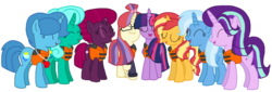 Size: 2340x796 | Tagged: safe, artist:徐詩珮, fizzlepop berrytwist, glitter drops, moondancer, spring rain, starlight glimmer, sunset shimmer, tempest shadow, trixie, twilight sparkle, alicorn, pony, unicorn, series:sprglitemplight diary, series:sprglitemplight life jacket days, series:springshadowdrops diary, series:springshadowdrops life jacket days, alternate universe, base used, bisexual, broken horn, clothes, counterparts, cute, eyes closed, female, glimmerdancer, glitterbetes, glitterdancer, glitterglimmer, glitterlight, glittershadow, glittershimmer, glittertrix, happy, horn, lesbian, lifeguard, lifeguard spring rain, lifejacket, moonset, polyamory, shimmerglimmer, shipping, simple background, singing, sprglitemplight, sprglitemplightixstarsetdancer, springbetes, springdancer, springdrops, springlight, springlimmer, springshadow, springshadowdrops, springshimmer, springtrix, startrix, sunsetsparkle, suntrix, tempestbetes, tempestdancer, tempestglimmer, tempestlight, tempestrix, tempestshimmer, transparent background, trickdancer, twiabetes, twidancer, twilight sparkle (alicorn), twilight's counterparts, twistarlight, twixie, vector