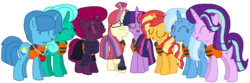 Size: 2340x774 | Tagged: safe, artist:徐詩珮, fizzlepop berrytwist, glitter drops, moondancer, spring rain, starlight glimmer, sunset shimmer, tempest shadow, trixie, twilight sparkle, alicorn, pony, unicorn, series:sprglitemplight diary, series:sprglitemplight life jacket days, series:springshadowdrops diary, series:springshadowdrops life jacket days, alternate universe, base used, bisexual, broken horn, clothes, counterparts, cute, eyes closed, female, glimmerdancer, glitterbetes, glitterdancer, glitterglimmer, glitterlight, glittershadow, glittershimmer, glittertrix, happy, horn, lesbian, lifeguard, lifeguard spring rain, lifejacket, moonset, polyamory, scarf, shimmerglimmer, shipping, simple background, singing, sprglitemplight, sprglitemplightixstarsetdancer, springbetes, springdancer, springdrops, springlight, springlimmer, springshadow, springshadowdrops, springshimmer, springtrix, startrix, sunsetsparkle, suntrix, tempestbetes, tempestdancer, tempestglimmer, tempestlight, tempestrix, tempestshimmer, transparent background, trickdancer, twiabetes, twidancer, twilight sparkle (alicorn), twilight's counterparts, twistarlight, twixie, vector
