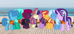 Size: 2340x1080 | Tagged: safe, artist:徐詩珮, fizzlepop berrytwist, glitter drops, moondancer, spring rain, starlight glimmer, sunset shimmer, tempest shadow, trixie, twilight sparkle, alicorn, pony, unicorn, series:sprglitemplight diary, series:sprglitemplight life jacket days, series:springshadowdrops diary, series:springshadowdrops life jacket days, alternate universe, base used, bisexual, broken horn, clothes, counterparts, cute, eyes closed, female, glimmerdancer, glitterbetes, glitterdancer, glitterglimmer, glitterlight, glittershadow, glittershimmer, glittertrix, happy, horn, lesbian, lifeguard, lifeguard spring rain, lifejacket, moonset, polyamory, scarf, shimmerglimmer, ship, shipping, simple background, singing, sprglitemplight, sprglitemplightixstarsetdancer, spring rain's lifeguard whistle, springbetes, springdancer, springdrops, springlight, springlimmer, springshadow, springshadowdrops, springshimmer, springtrix, startrix, sunsetsparkle, suntrix, tempestbetes, tempestdancer, tempestglimmer, tempestlight, tempestrix, tempestshimmer, trickdancer, twiabetes, twidancer, twilight sparkle (alicorn), twilight's counterparts, twistarlight, twixie, whistle, whistle necklace
