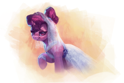 Size: 3000x2000 | Tagged: safe, artist:vanillaghosties, sugar belle, pony, unicorn, the big mac question, spoiler:s09e23, abstract background, clothes, cute, dress, female, lidded eyes, looking at you, mare, raised hoof, smiling, solo, sugarbetes, wedding dress