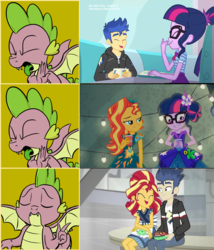 Size: 1760x2060 | Tagged: edit, edited screencap, eqg summertime shorts, equestria girls, equestria girls series, female, flashimmer, flashlight, flash sentry, good vibes, hotline bling, legend of everfree, lesbian, male, meme, op is a duck, op is trying to start shit, pinkie pie: snack psychic, safe, sciflash, sci-twi, scitwishimmer, screencap, shipping, spike, straight, sunset shimmer, sunsetsparkle, twilight sparkle