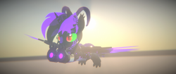 Size: 3840x1620 | Tagged: 3d, artist:phoenixtm, cybernetic enhancement, cyborg, cyborg dracony, dracony, dracony alicorn, dragon, flying, hybrid, oc, oc:phoenix stardash, pony, relaxed, safe, spread wings, unity (game engine), wings