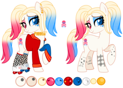 Size: 3876x2780 | Tagged: :), artist:aestheticallylithi, artist:alina-brony29, artist:lazuli, base used, bedroom eyes, choker, clothes, commission, ear piercing, earring, earth pony, eyeshadow, female, fishnets, harley quinn, heart, heart eyes, heterochromia, hoodie, jewelry, makeup, mare, multicolored hair, oc, oc:har-harley queen, oc only, piercing, pigtails, pony, raised hoof, reference sheet, roller skates, running makeup, safe, simple background, socks, solo, stockings, tattoo, thigh highs, transparent background, twintails, wingding eyes